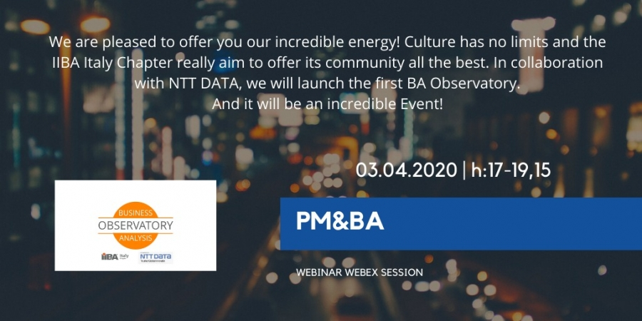 PM & BA 2020 - Webinar edition